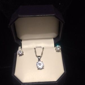 925 Sterling Silver earrings and necklace Set